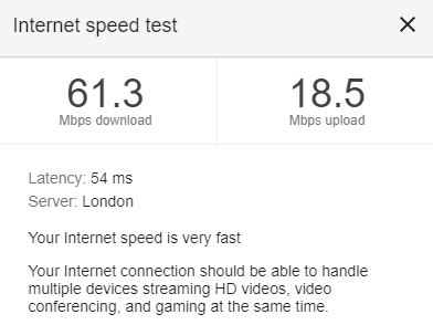 Google Speed Result