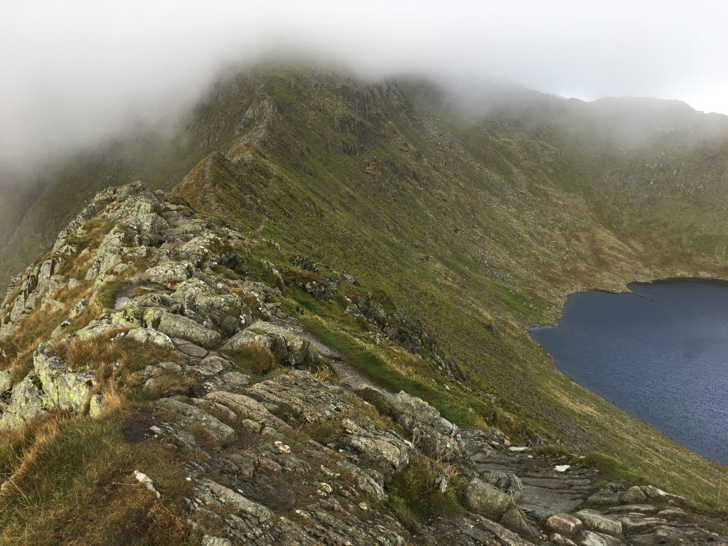 Striding Edge and Red Tarn with Helvellyn hidden.