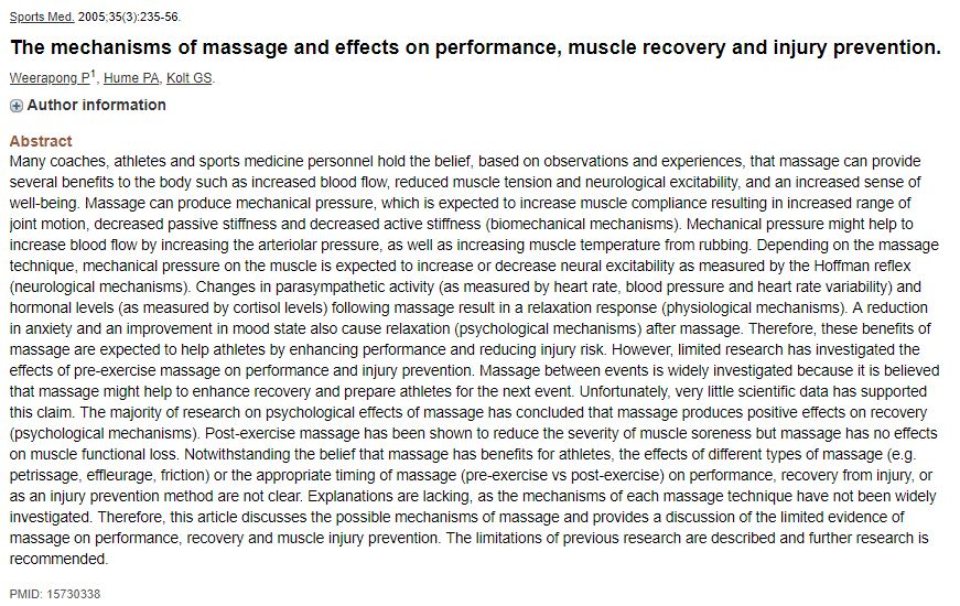 The mechanisms of massage and effects on performance, muscle recovery and injury prevention.